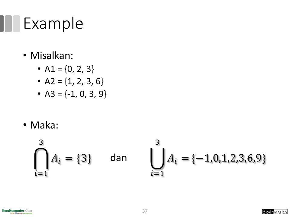 Example Misalkan: Maka: dan 𝑖=1 3 𝐴 𝑖 ={3}