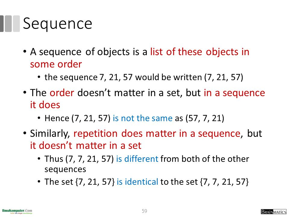 Sequence A sequence of objects is a list of these objects in some order. the sequence 7, 21, 57 would be written (7, 21, 57)