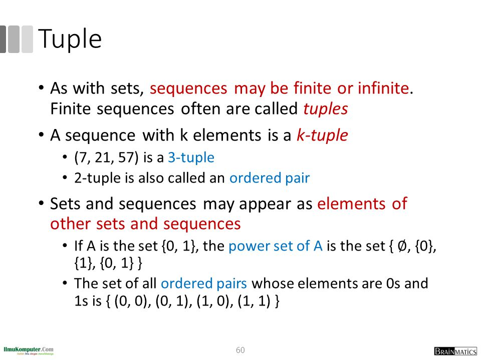 Tuple As with sets, sequences may be finite or infinite. Finite sequences often are called tuples.
