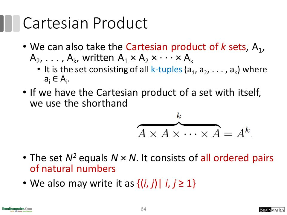 Cartesian Product We can also take the Cartesian product of k sets, A1, A2, . . . , Ak, written A1 × A2 × · · · × Ak.