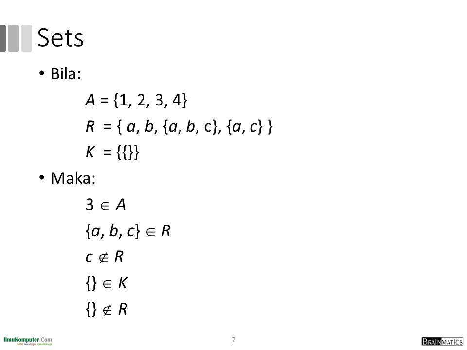 Sets Bila: A = {1, 2, 3, 4} R = { a, b, {a, b, c}, {a, c} } K = {{}}
