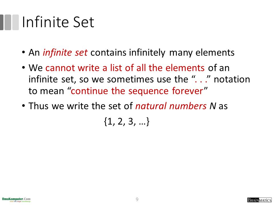 Infinite Set An infinite set contains infinitely many elements
