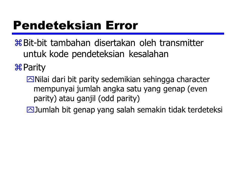 Pendeteksian Error Bit-bit tambahan disertakan oleh transmitter untuk kode pendeteksian kesalahan. Parity.