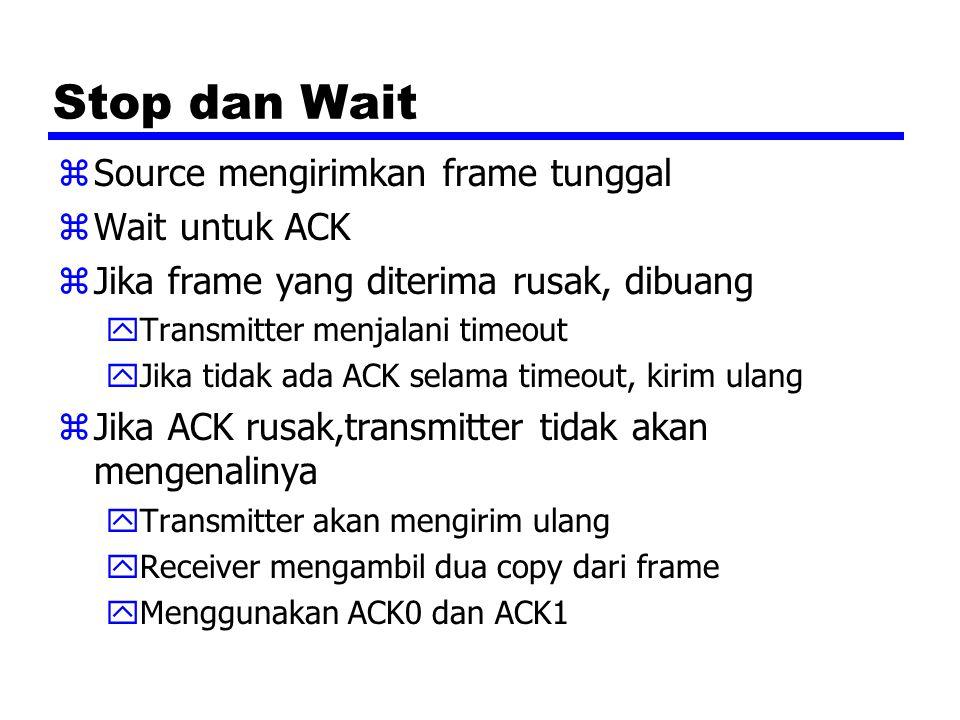 Stop dan Wait Source mengirimkan frame tunggal Wait untuk ACK