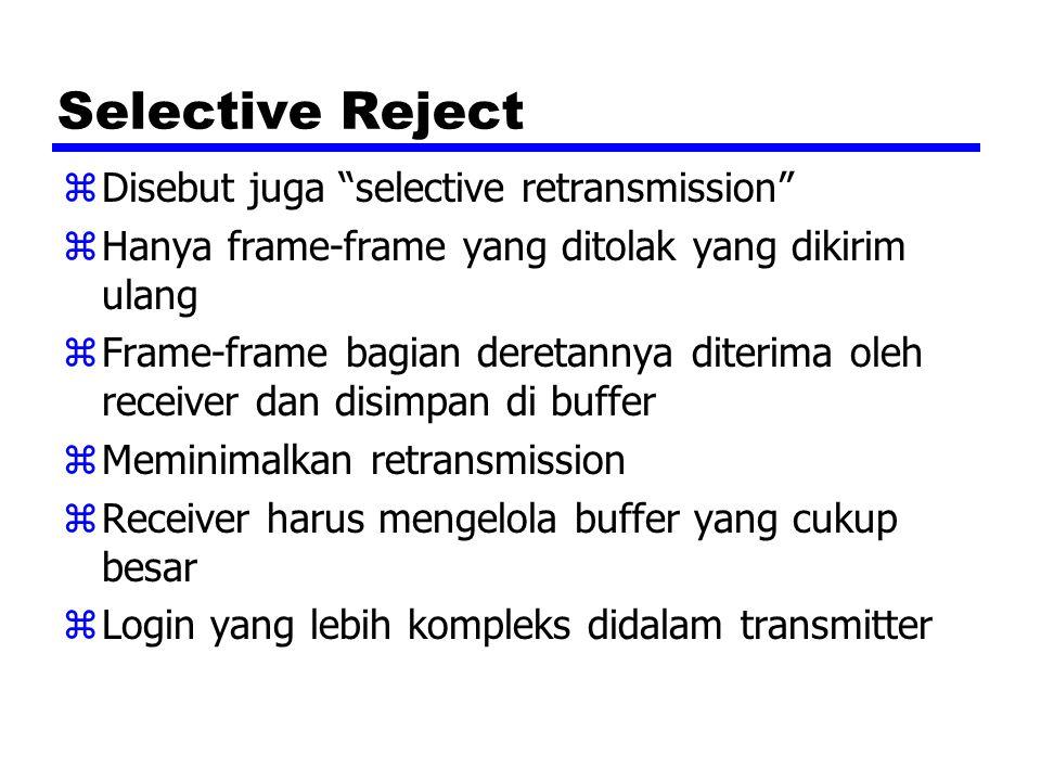 Selective Reject Disebut juga selective retransmission