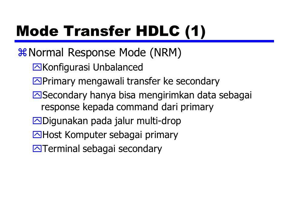 Mode Transfer HDLC (1) Normal Response Mode (NRM)