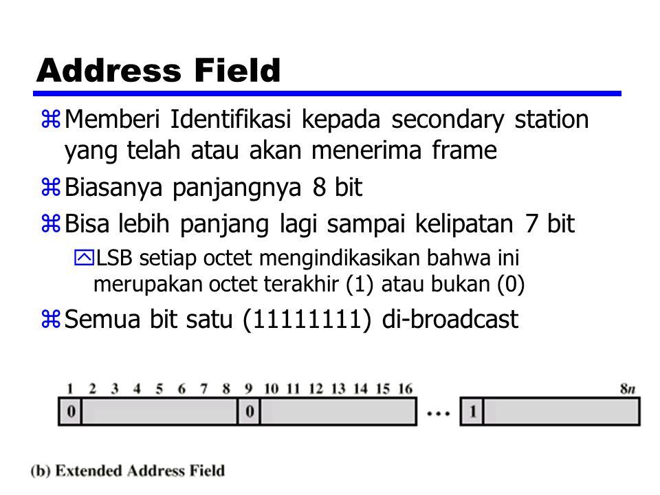 Address Field Memberi Identifikasi kepada secondary station yang telah atau akan menerima frame. Biasanya panjangnya 8 bit.