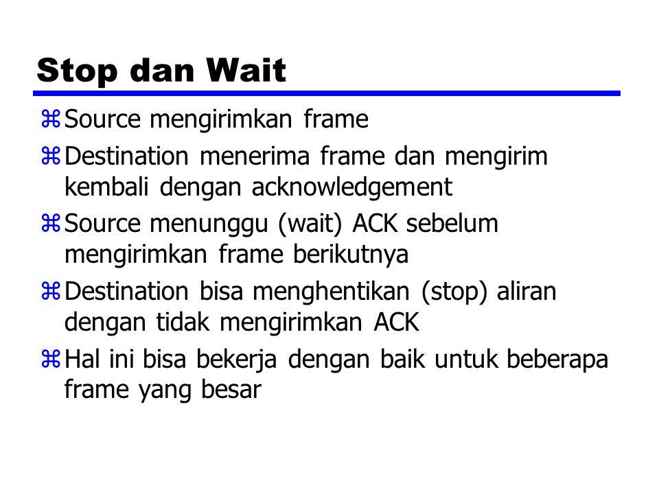 Stop dan Wait Source mengirimkan frame