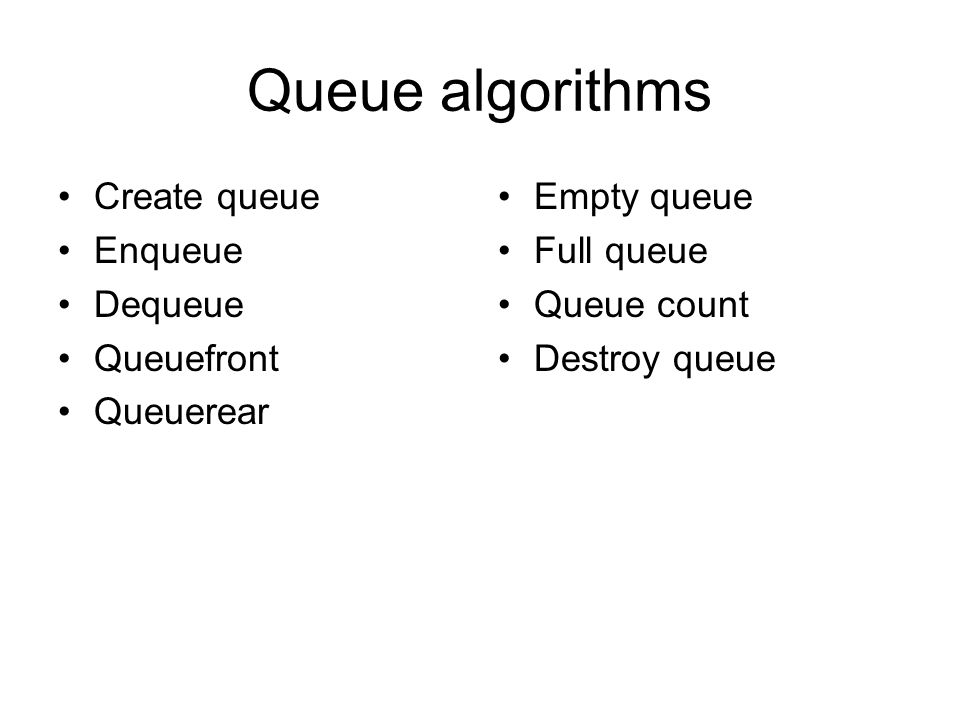 Queue algorithms Create queue Enqueue Dequeue Queuefront Queuerear