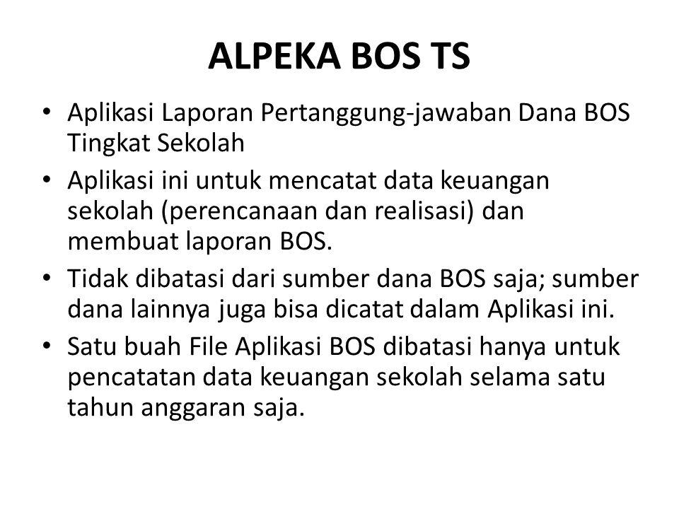 ALPEKA BOS TS Aplikasi Laporan Pertanggung-jawaban Dana BOS Tingkat Sekolah.