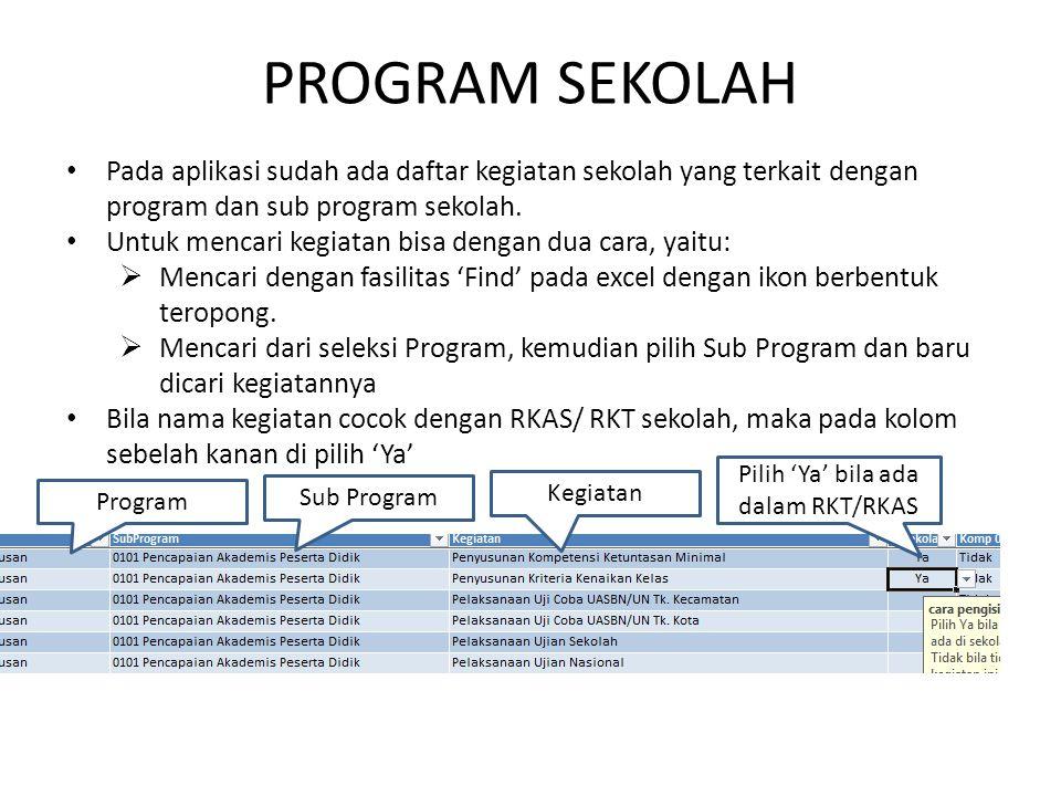 Pilih 'Ya' bila ada dalam RKT/RKAS