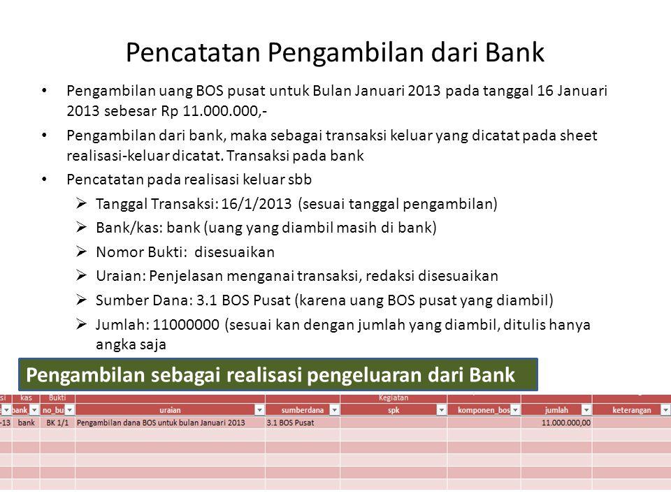 Pencatatan Pengambilan dari Bank