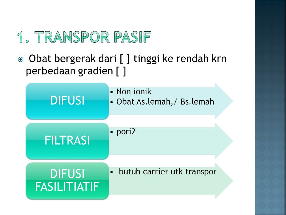 1. Transpor pasif DIFUSI FILTRASI DIFUSI FASILITIATIF