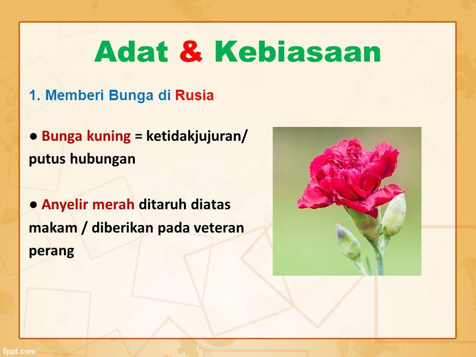 Adat & Kebiasaan ● Bunga kuning = ketidakjujuran/ putus hubungan