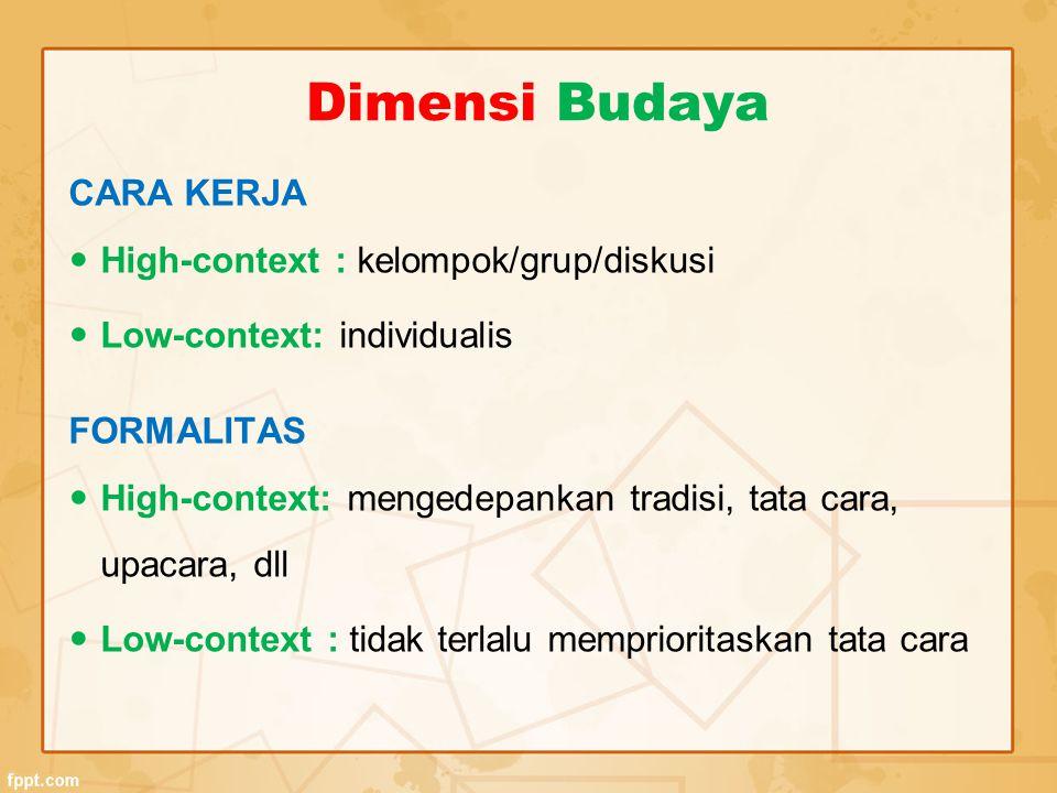 Dimensi Budaya CARA KERJA High-context : kelompok/grup/diskusi