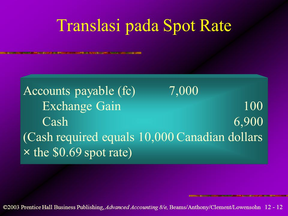 Translasi pada Spot Rate