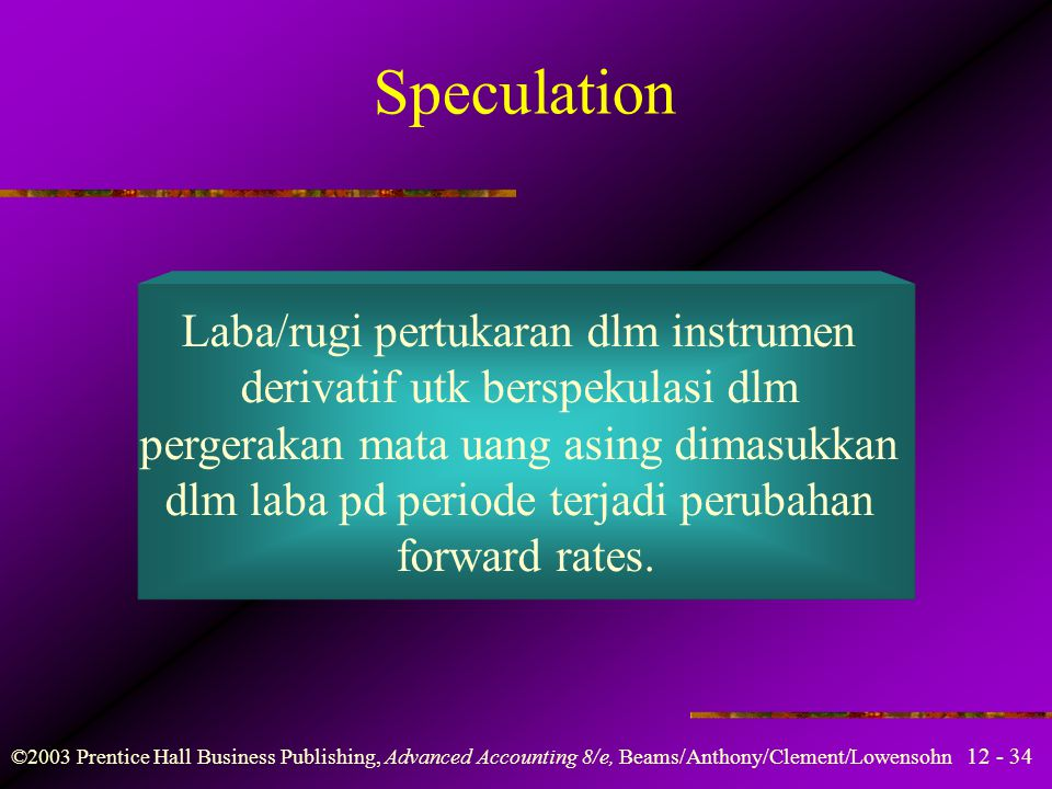 Speculation Laba/rugi pertukaran dlm instrumen