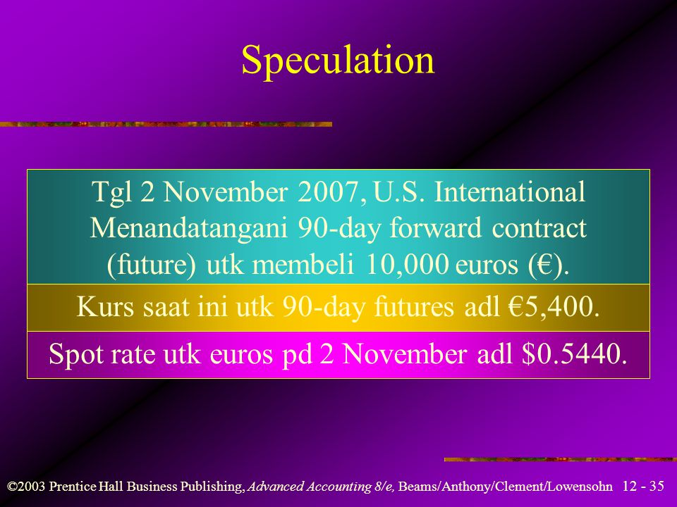 Speculation Tgl 2 November 2007, U.S. International