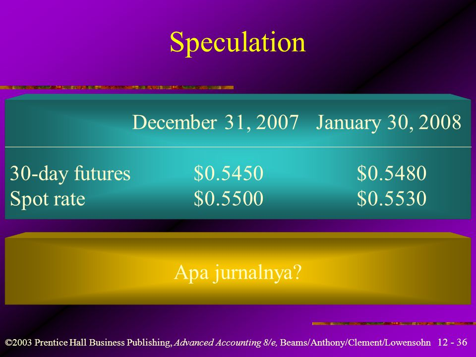 Speculation December 31, 2007 January 30, 2008