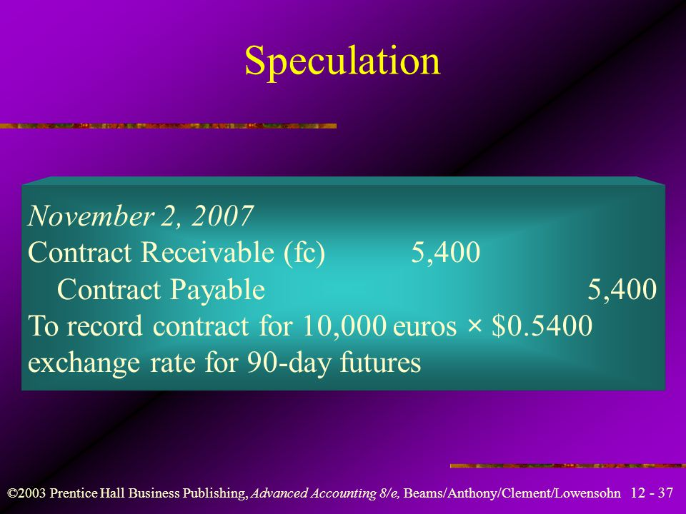 Speculation November 2, 2007 Contract Receivable (fc) 5,400