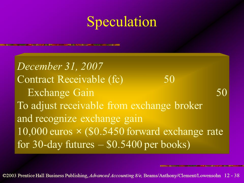 Speculation December 31, 2007 Contract Receivable (fc) 50