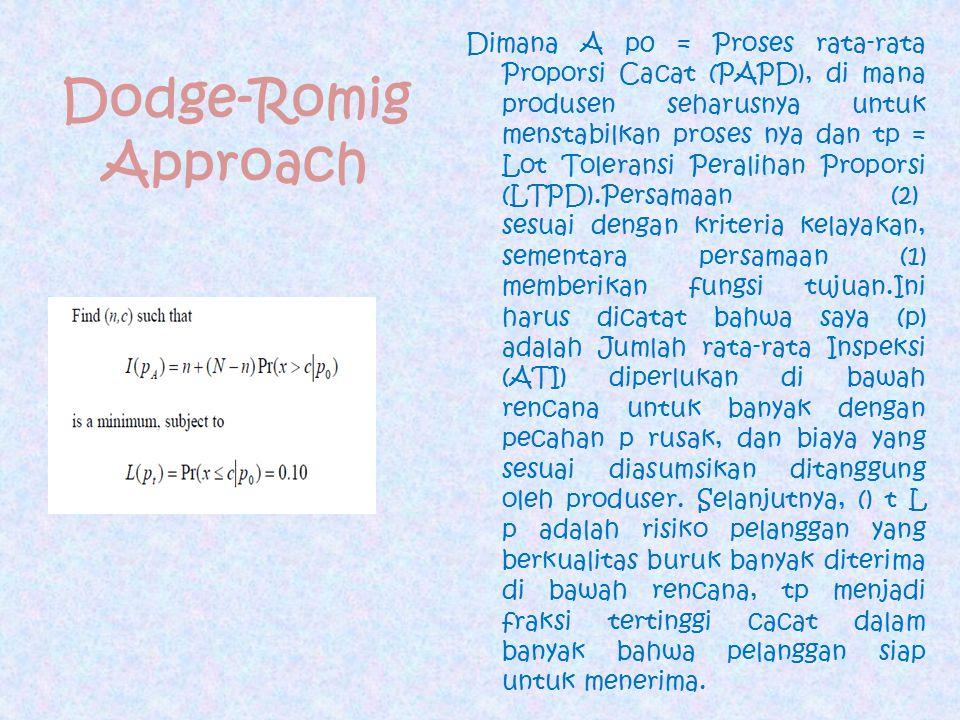 Dodge-Romig Approach