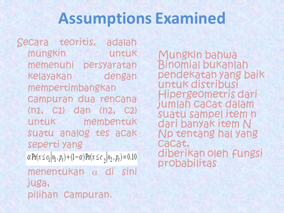 Assumptions Examined