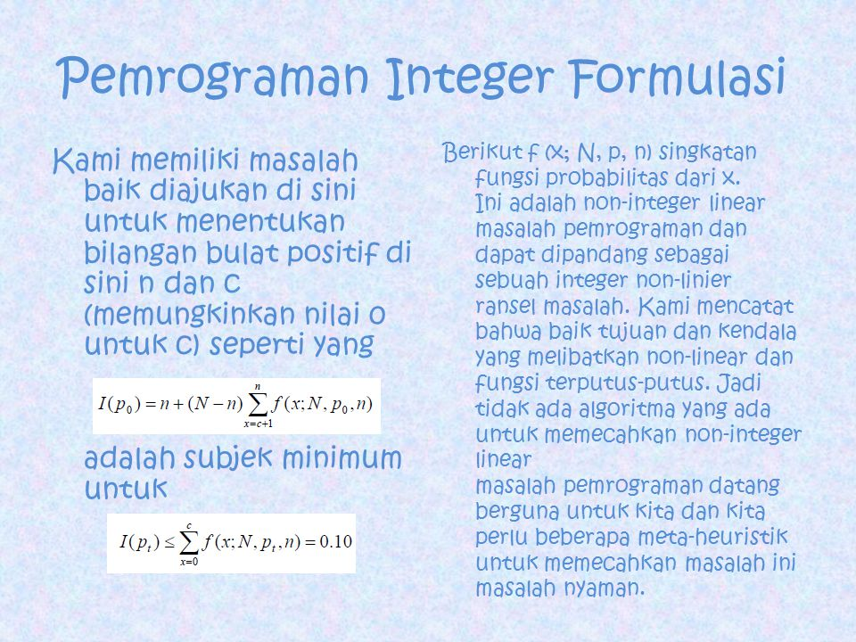 Pemrograman Integer Formulasi