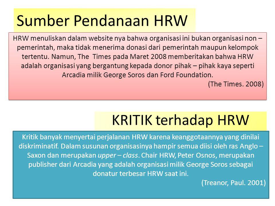 Sumber Pendanaan HRW KRITIK terhadap HRW