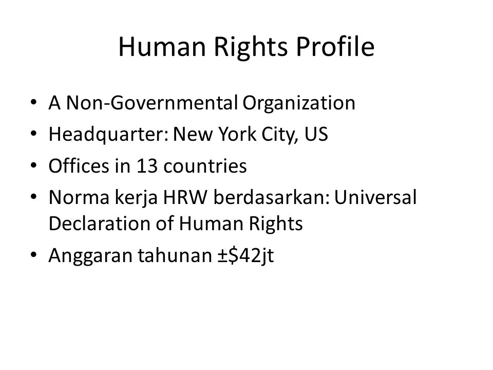 Human Rights Profile A Non-Governmental Organization