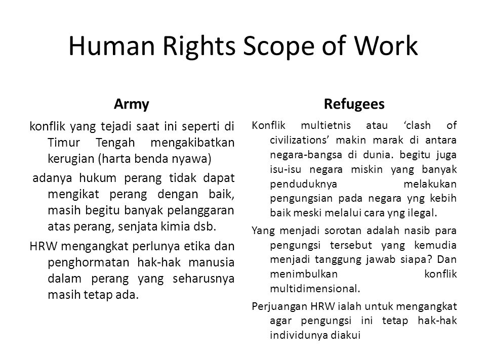 Human Rights Scope of Work