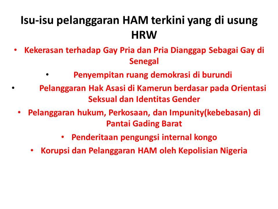 Isu-isu pelanggaran HAM terkini yang di usung HRW