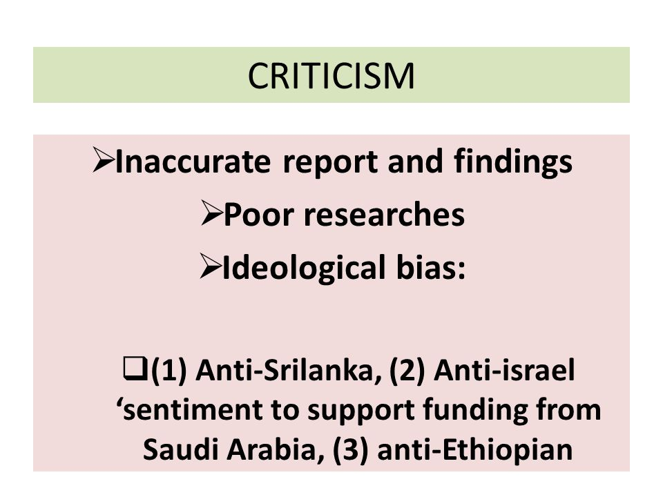 Inaccurate report and findings