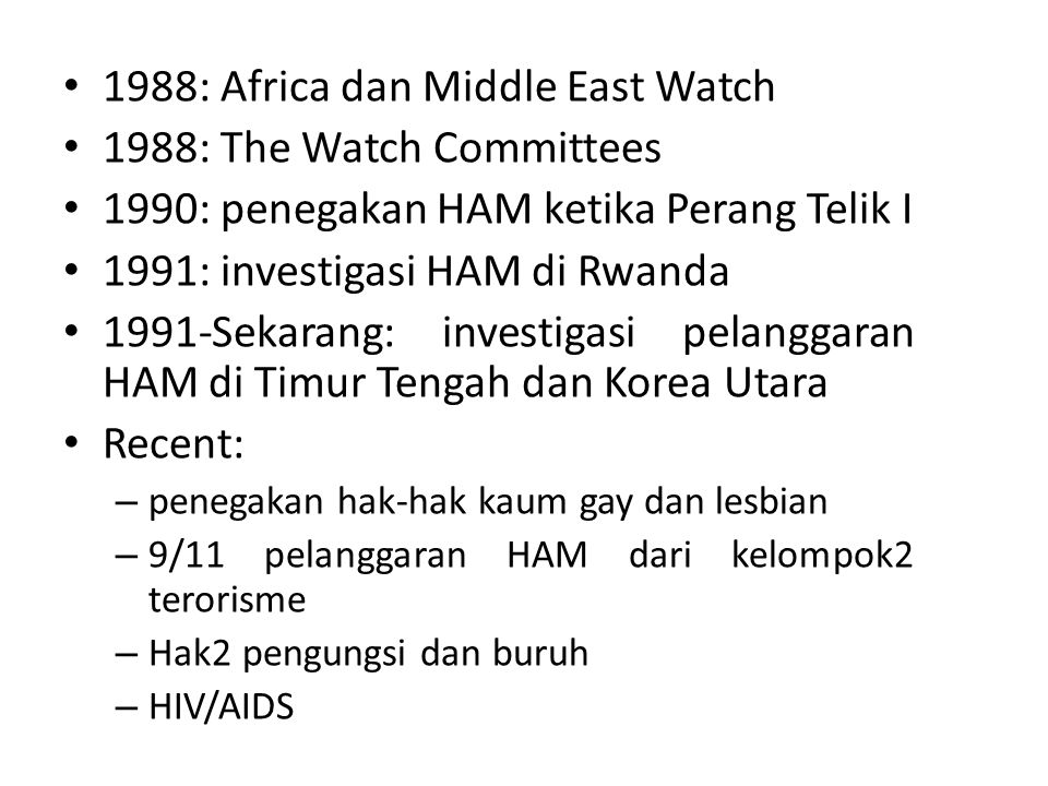 1988: Africa dan Middle East Watch 1988: The Watch Committees