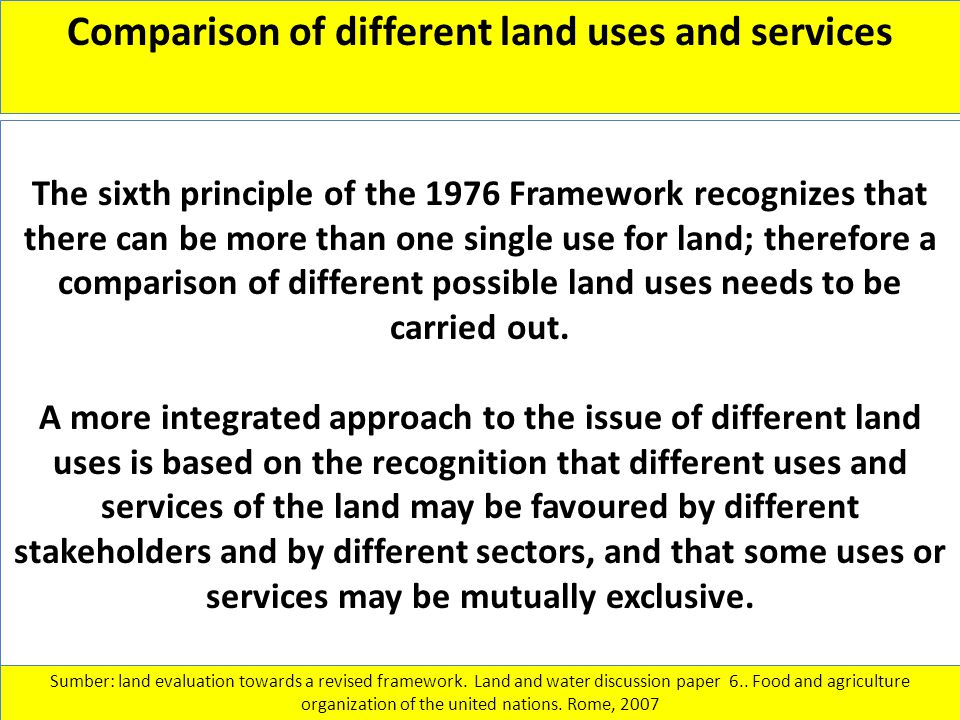 Comparison of different land uses and services