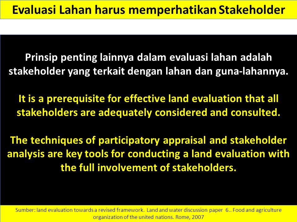 Evaluasi Lahan harus memperhatikan Stakeholder