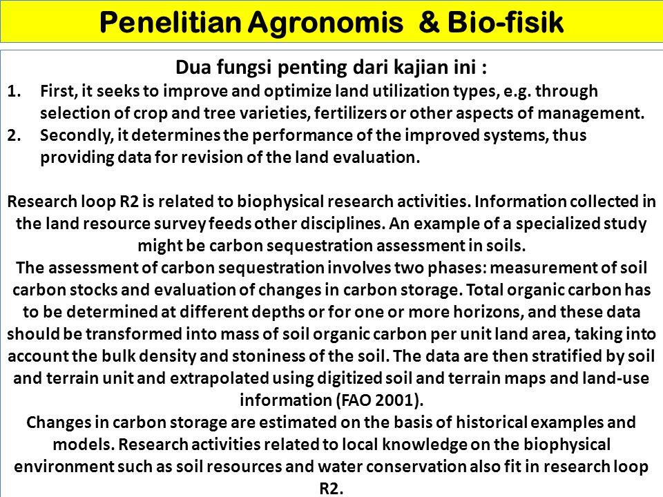 Penelitian Agronomis & Bio-fisik Dua fungsi penting dari kajian ini :