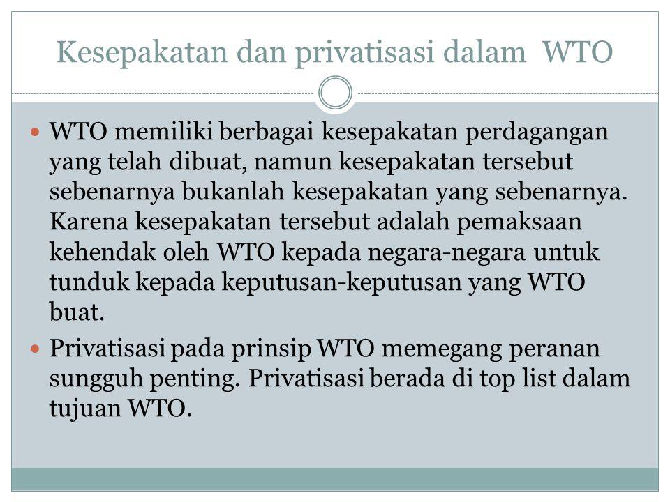 Kesepakatan dan privatisasi dalam WTO