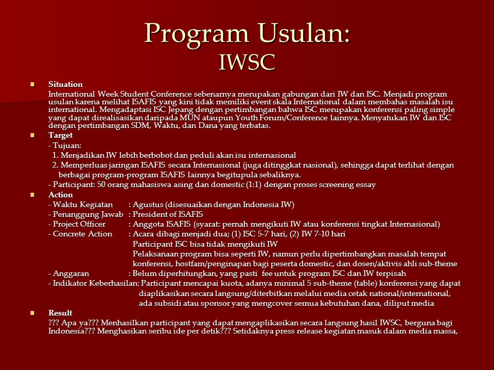 Program Usulan: IWSC Situation