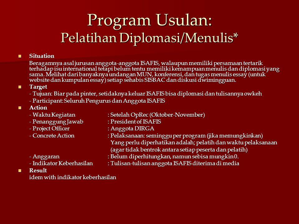 Program Usulan: Pelatihan Diplomasi/Menulis*