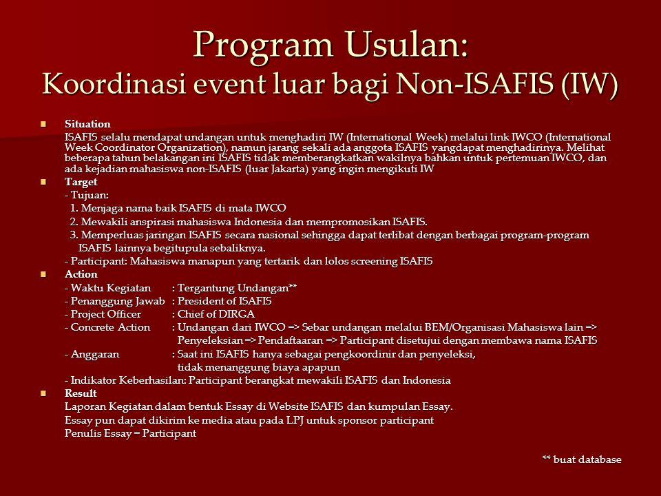 Program Usulan: Koordinasi event luar bagi Non-ISAFIS (IW)