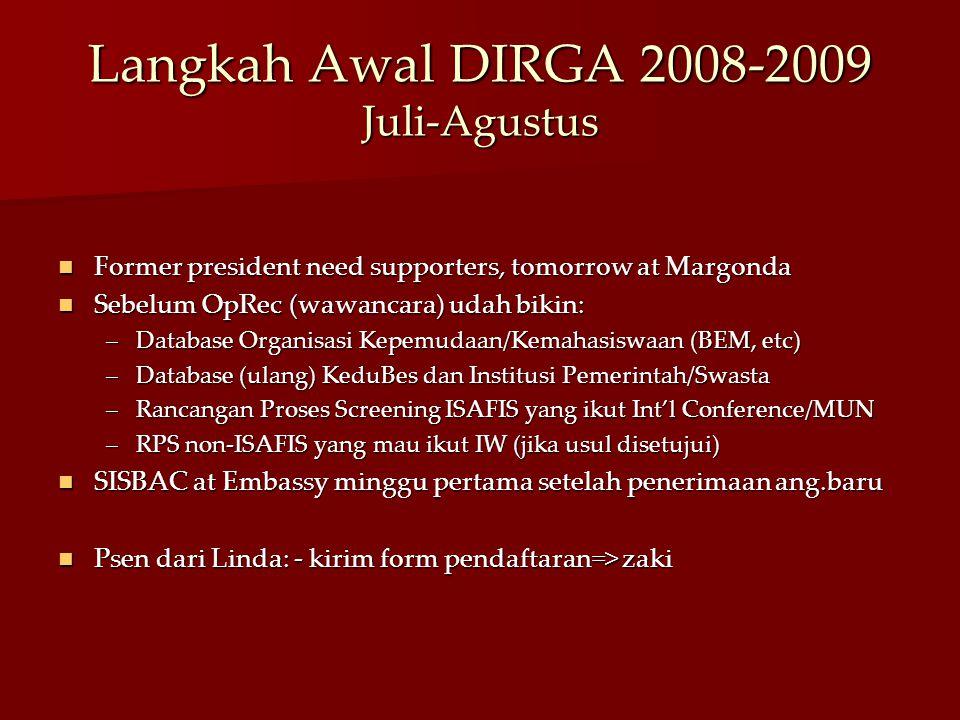 Langkah Awal DIRGA 2008-2009 Juli-Agustus