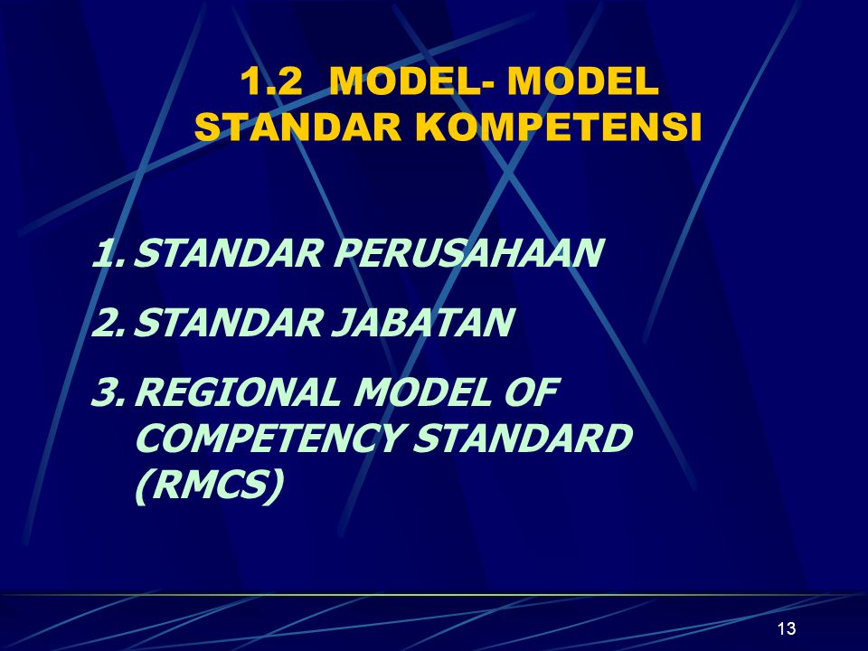 1.2 MODEL- MODEL STANDAR KOMPETENSI