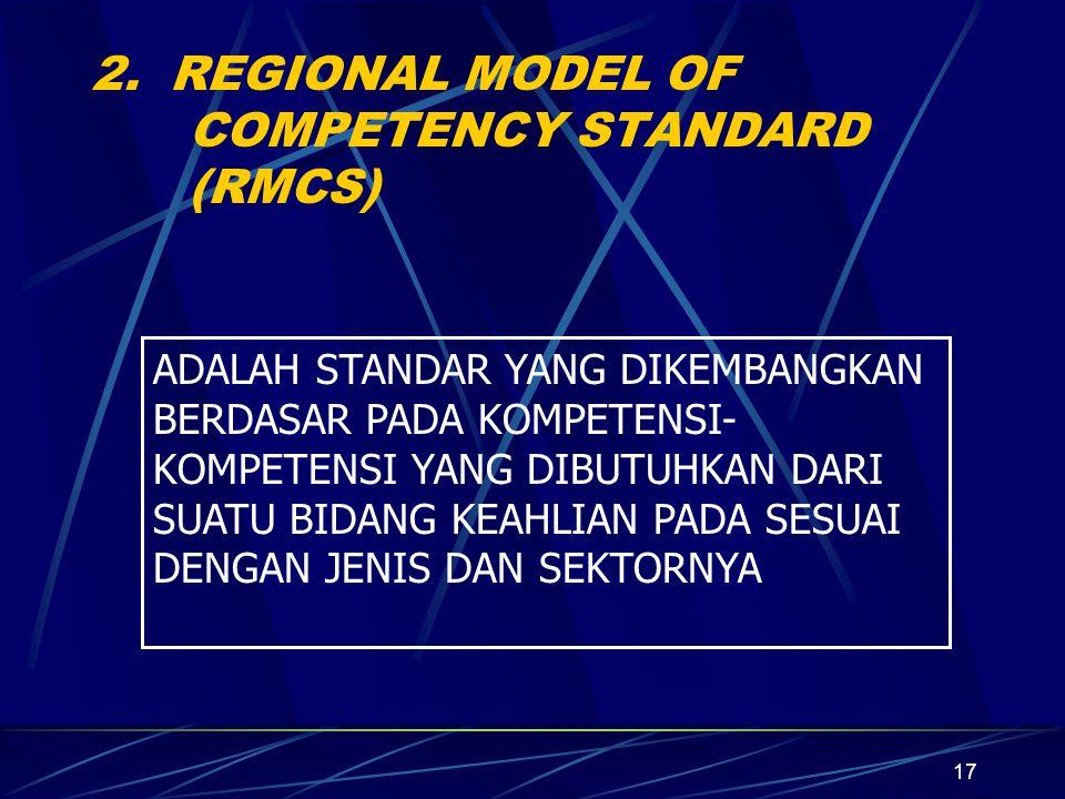 2. REGIONAL MODEL OF COMPETENCY STANDARD (RMCS)