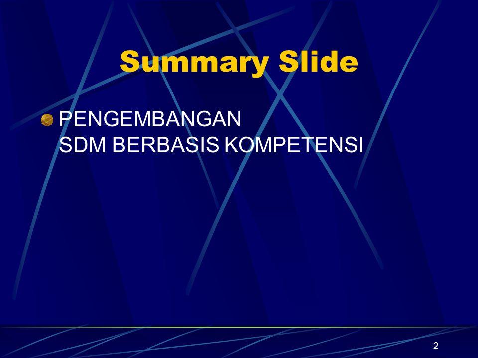 Summary Slide PENGEMBANGAN SDM BERBASIS KOMPETENSI