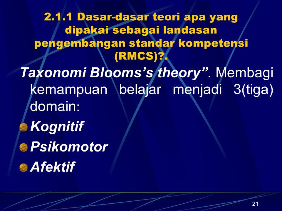 2.1.1 Dasar-dasar teori apa yang dipakai sebagai landasan pengembangan standar kompetensi (RMCS) .