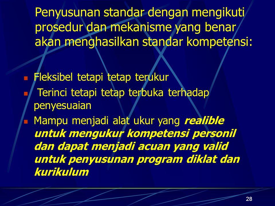 Penyusunan standar dengan mengikuti prosedur dan mekanisme yang benar akan menghasilkan standar kompetensi: