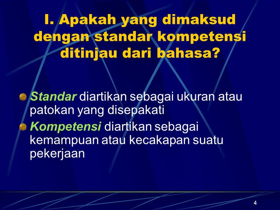 I. Apakah yang dimaksud dengan standar kompetensi ditinjau dari bahasa