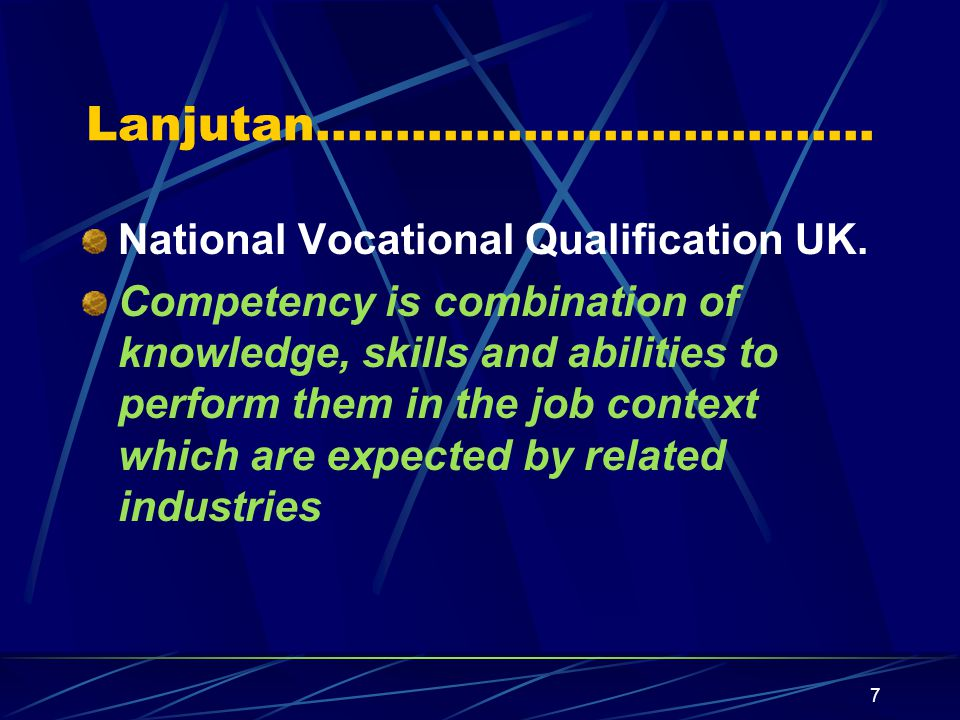 Lanjutan…………………………….. National Vocational Qualification UK.