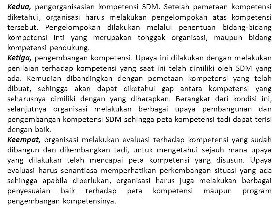 Kedua, pengorganisasian kompetensi SDM